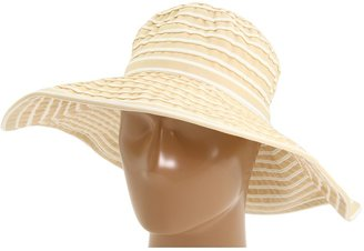 San Diego Hat Company RBL4744 Ribbon Crusher Large Brim Hat (Beige/White) - Hats