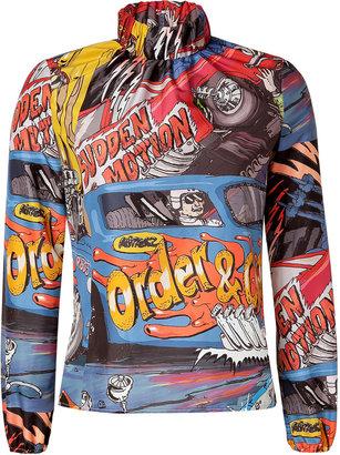 J.W.Anderson Taffeta Car Print Ruched Neck Top