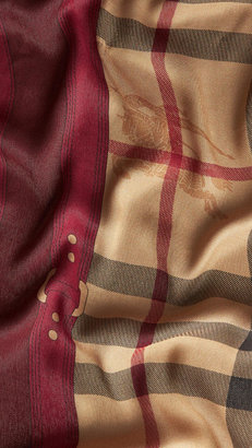 Burberry Metallic Haymarket Check Border Scarf