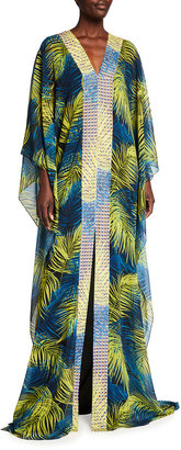 Badgley Mischka Feather Print V-Neck Caftan with Contrast Border