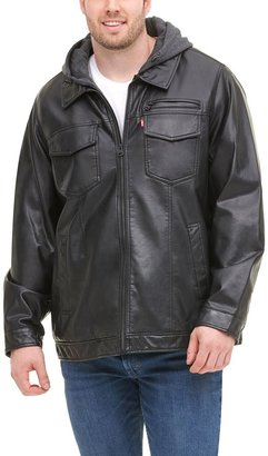 Levi's Big & Tall Faux-Leather Hooded Jacket