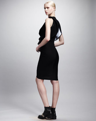 Givenchy Ruffle-Front Contrast Jersey Dress