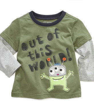First Impressions Baby Top, Baby Boys Layered Sleeve Alien Top
