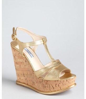 Prada gold textured leather t-strap cork wedge sandals