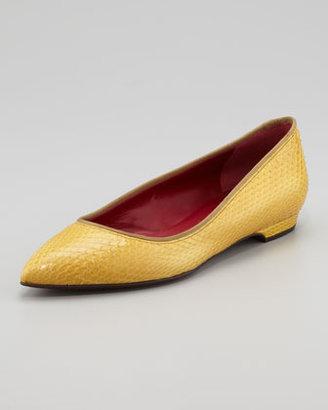 Lanvin Pointed-Toe Snakeskin Flat, Yellow