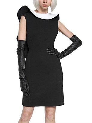 Lanvin Bicolor Ruffle Neoprene Dress