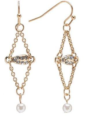 Lauren Conrad gold tone simulated crystal & simulated pearl kite earrings