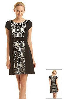 Amy Byer Short Sleeve Geometric Print Contrast Panel Dress