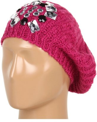 Betsey Johnson Ice Princess Beret (Fuchsia) - Hats
