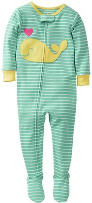 Carter's 1 Piece Cotton Striped Footie (Baby) - Whale-12 Months