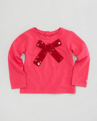 Lili Gaufrette Long-Sleeve Bow Tee, Sizes 8-10