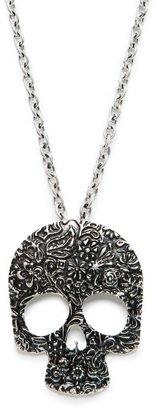 MANGO Engraved skull necklace
