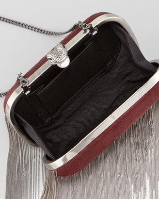House Of Harlow Jude Chain-Fringe Calf Hair Clutch Bag, Black (Stylist Pick!)