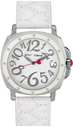 Betsey Johnson 'Lots 'n' Lots of Time' Quilted Strap Watch, 37mm