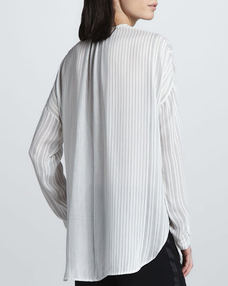 Vince Striped Long-Sleeve Blouse