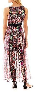 Nicole Miller nicole by Sleeveless V-Neck Print Maxi Dress