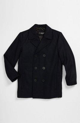 Black Rivet Wool Blend Peacoat (Big Boys)