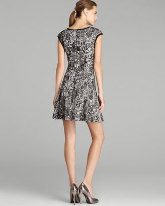AQUA Dress - Snake Textured Cap Sleeve Flare