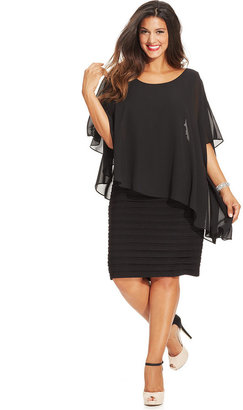 Betsy & Adam Plus Size Chiffon Capelet Sheath Dress $189 thestylecure.com