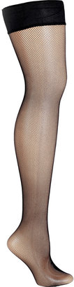 Fogal Black Fine Fishnet Netlace Stay Up Thigh-High Stockings
