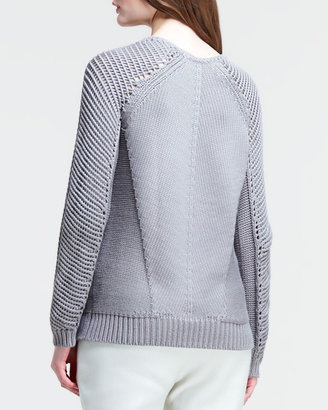 Helmut Lang Skeletal Cord Mixed-Knit Pullover