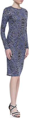 Derek Lam 10 Crosby Leopard-Print Long-Sleeve Dress