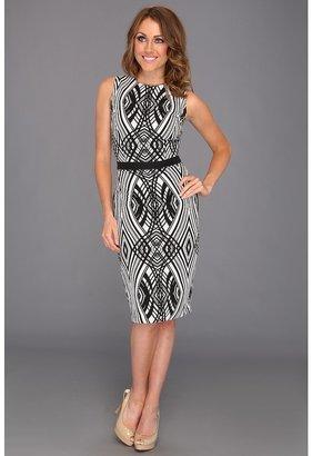Badgley Mischka Allover Geometric Shift Dress (Black White) - Apparel
