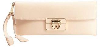 Salvatore Ferragamo petal pink leather logo imprinted gancio foldover clutch