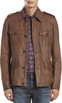 Gucci Leather Safari Jacket, Brown