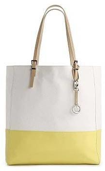 Audrey Brooke Leather Two-Tone Tote