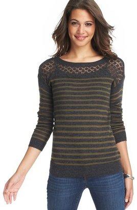 LOFT Petite Striped Pointelle Yoke Sweater