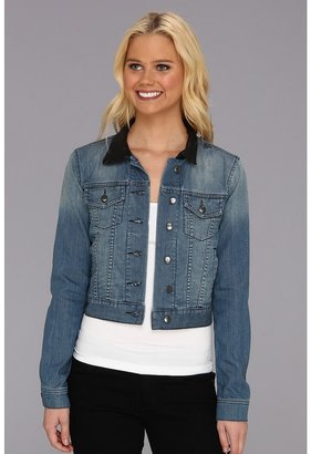 BCBGeneration Cropped Denim Jacket w/ Leather Collar (Not So Blue) - Apparel