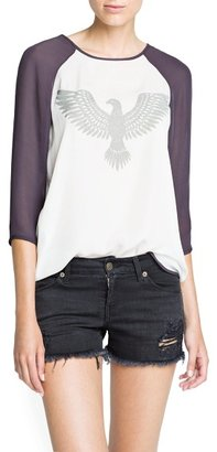 MANGO Textured eagle chiffon blouse