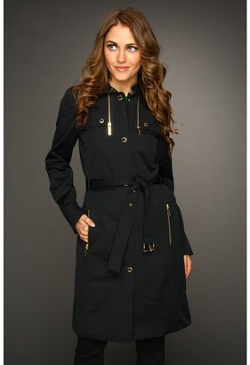 MICHAEL Michael Kors L/S Trench With Zipper (Black) - Apparel