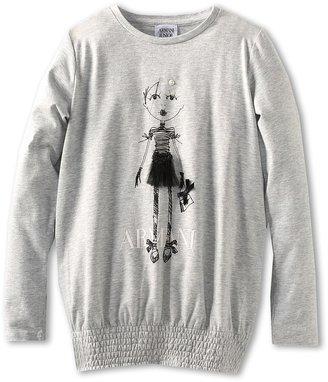 Armani Junior Tutu L/D Tee (Toddler/Little Kids/Big Kids) (Black/Grey) - Apparel