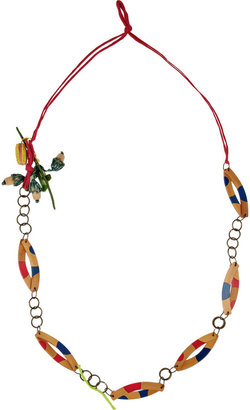 Marni Wood and metal necklace