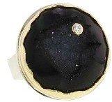 Jamie Joseph Round Dark Druzy Ring with Diamond