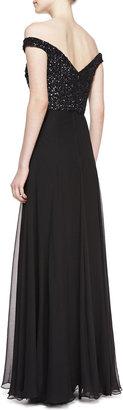 Rachel Gilbert Off-the-Shoulder Sequin-Bodice Silk Gown