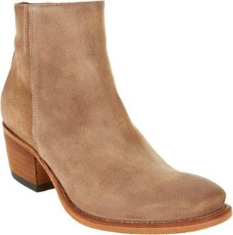 Barneys New York Distressed Nubuck Square Toe Ankle Boot
