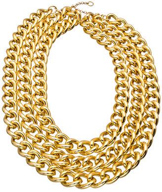 Blu Bijoux Gold Triple Chain Necklace