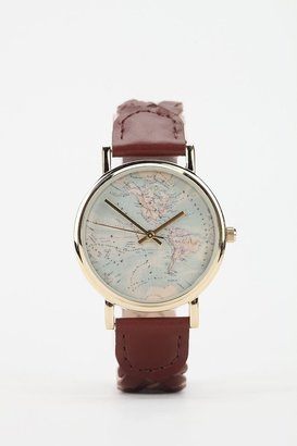 Urban Outfitters Braided Leather Map Watch