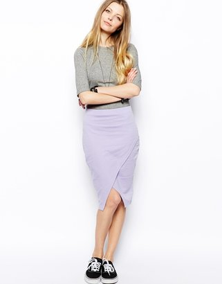 Asos Pencil Skirt In Sweat With Wrap Detail