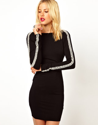 Asos Embellished Arm Bodycon Dress