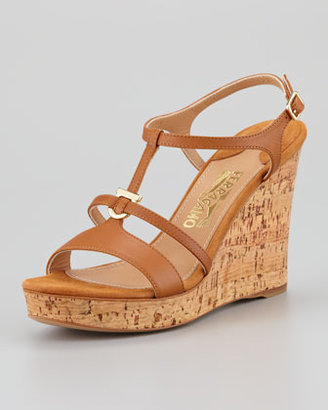 Salvatore Ferragamo Savita Cork Wedge Sandal, Tan