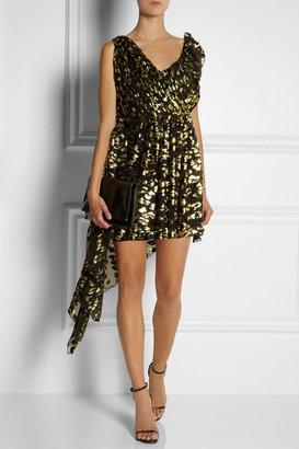 Saint Laurent Ruffled metallic flocked silk-blend dress