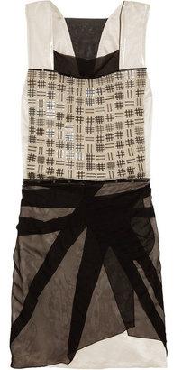 Bottega Veneta Beaded chiffon-trimmed silk-blend satin dress