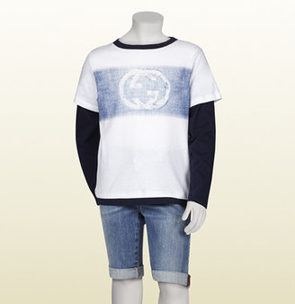 Gucci white and oltremare cotton jersey long sleeve t-shirt with GG denim print