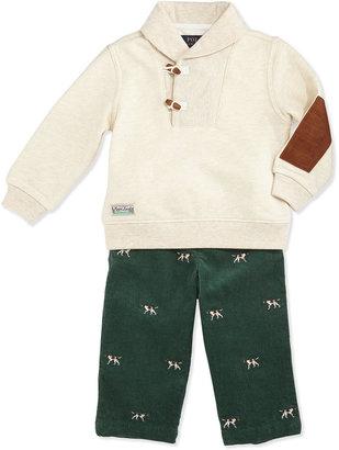 Ralph Lauren Vintage Varsity Fleece Shawl & Pants Set, Oatmeal Heather, 9-24 Months