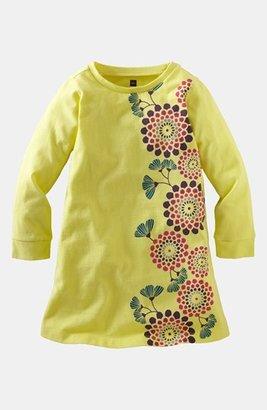 Tea Collection 'Yangzi Floral' Long Sleeve Shirtdress (Little Girls & Big Girls)