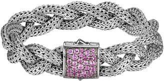 John Hardy Classic Chain Medium Braided Silver Bracelet, Pink Sapphire